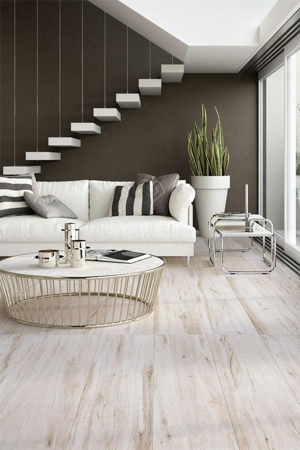 Gres porcellanato effetto legno bianco